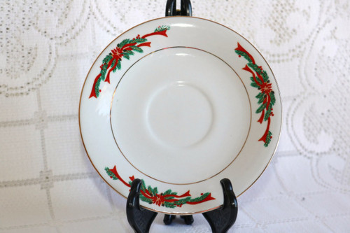 Fine China of China Poinsettia & Ribbons Saucer