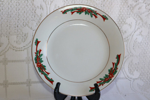 Fine China of China Poinsettia & Ribbons Salad Plate