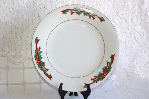 Fine China of China Poinsettia & Ribbons Dinner Plate