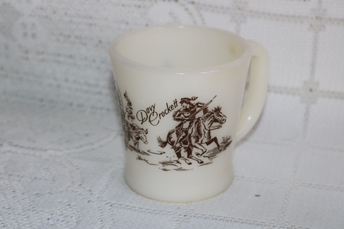 Anchor Hocking Fire King Davy Crockett Coffee Cup Brown