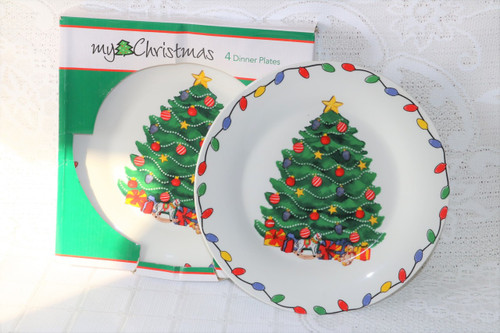 My Christmas Christmas Tree New Boxed Set 4 Dinner Plates