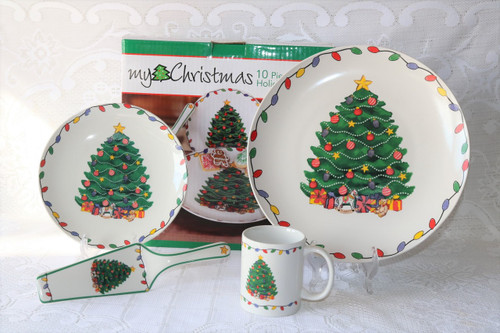 My Christmas Christmas Tree New Boxed Set 10 Piece Holiday Serve Set