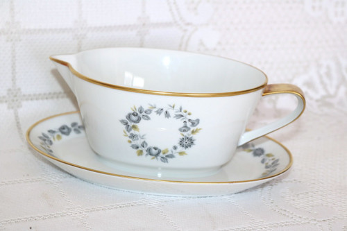 Hutschenreuther Celeste Gravy Boat with Attached Under Plate