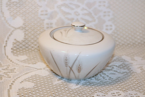 Fine China of Japan Platinum Wheat Sugar Bowl with Lid