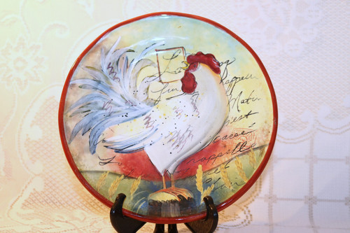 Certified International Le Rooster Salad Plate White Rooster