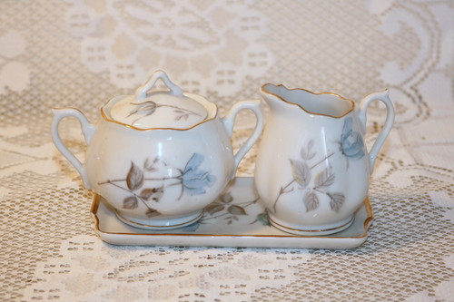 Enesco Blue Roses Creamer Sugar Bowl Tray Set