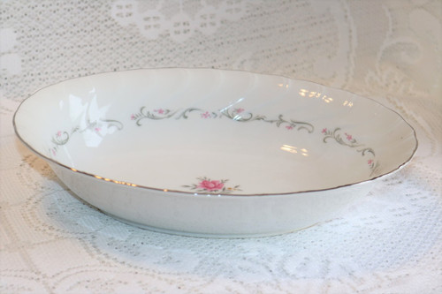 Fine China of Japan Royal Swirl Oval Vegetable Serving Bowl