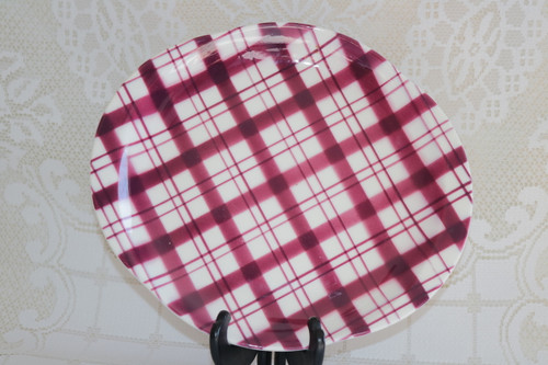 W.S. George Plaid - Cranberry Oval Serving Platter
