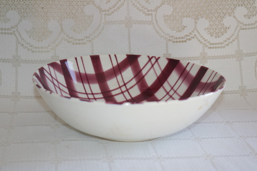W.S. George Plaid - Cranberry Round Vegetable Serving Bowl
