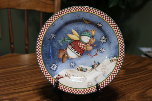 Sakura Snow Angel Village Salad Plate Tambourine
