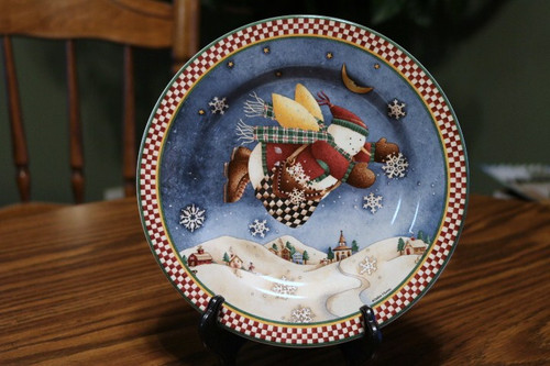 Sakura Snow Angel Village Salad Plate Checkered Bag