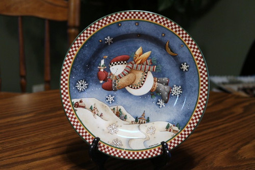 Sakura Snow Angel Village Salad Plate Candle