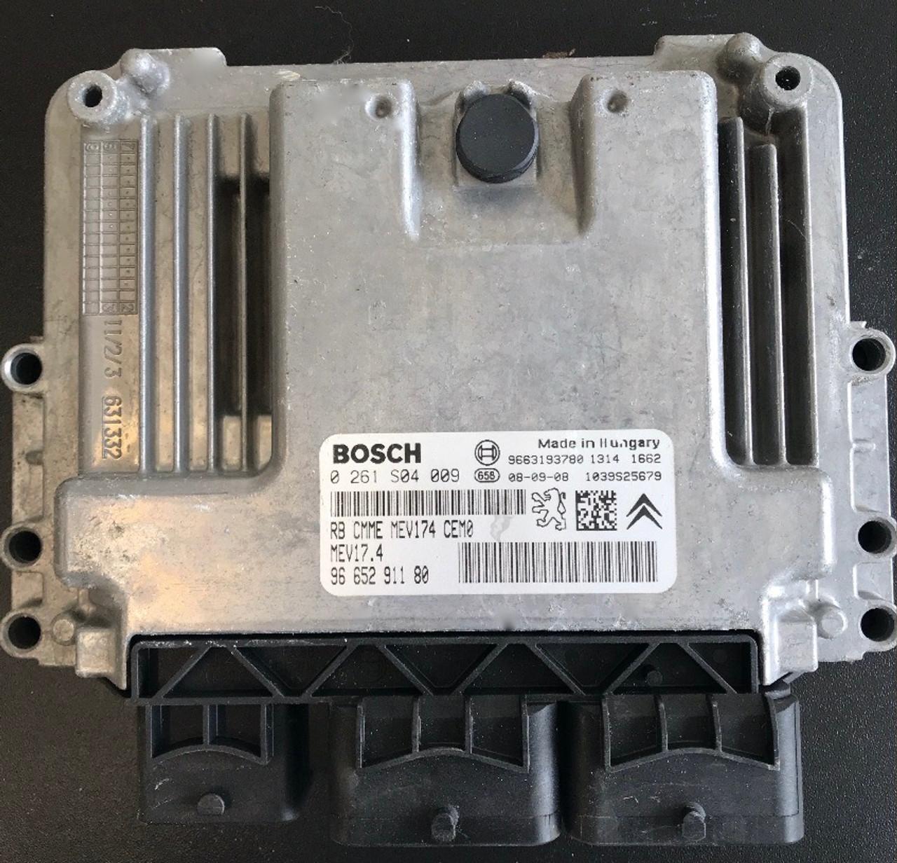 Bosch Engine ECU, Peugeot 207 1.4, 0261S04009, 0 261 S04 009, 9665291180, 96 652 911 80, MEV17.4, 1039S25679