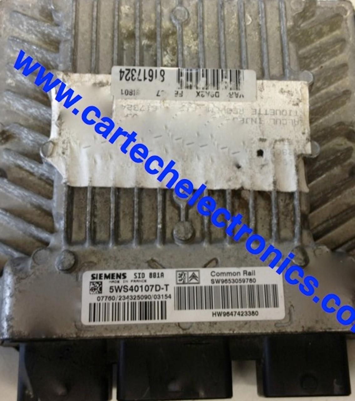 Plug & Play Engine ECU SIEMENS SID 801A 5WS40107D-T SW9653059780 HW9647423380