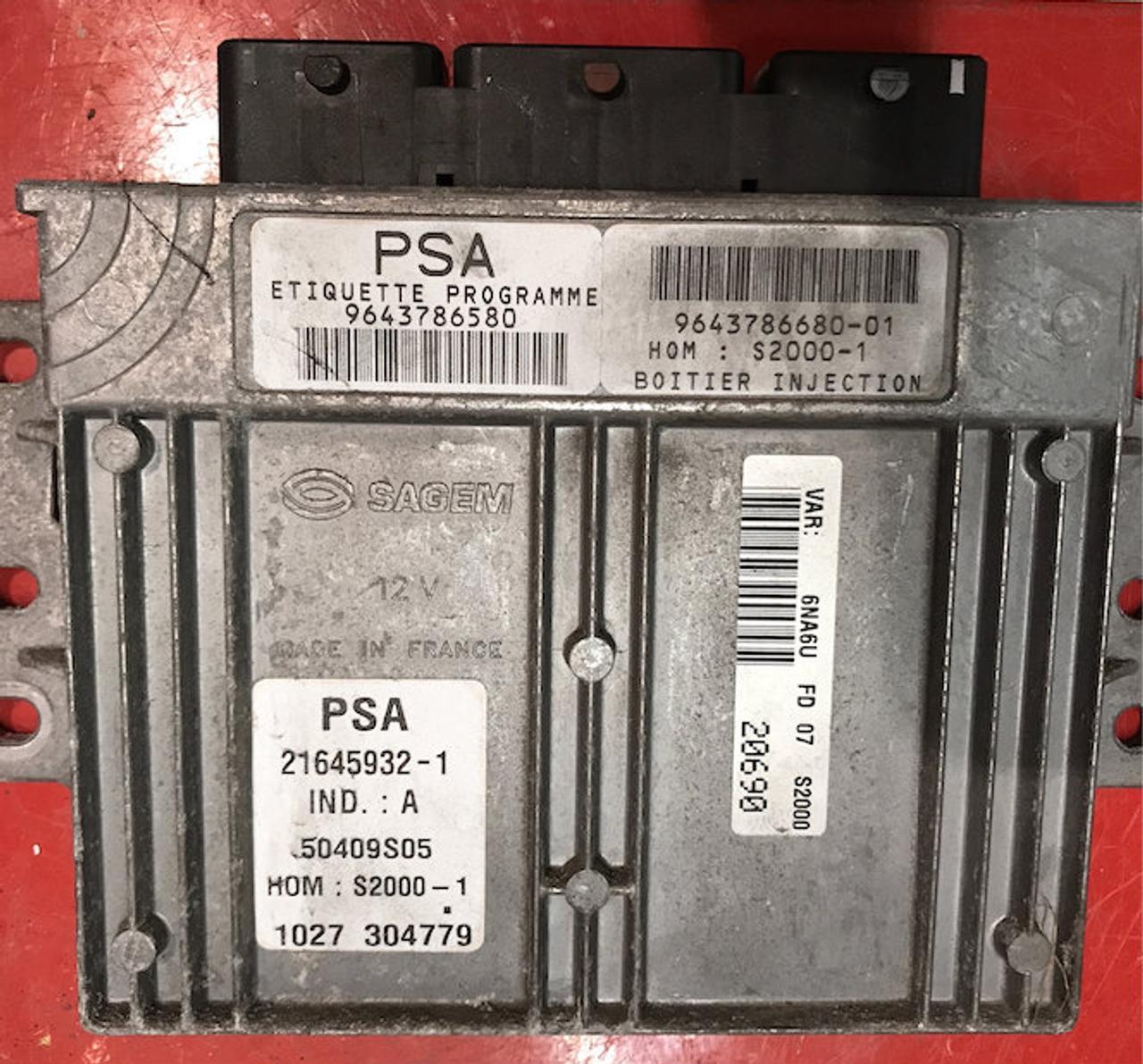 PSA, S2000-1, 9643786580, 9643786680-01, 21645932-1, IND.:A