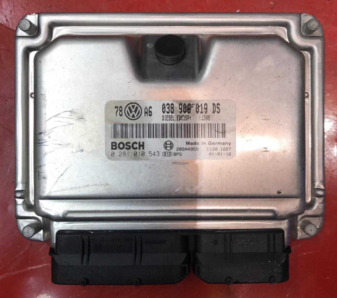 VW Passet 1.9 TDI, 0281010543, 0281 010 543, 038906019DS, 038 906 019 DS, EDC15P+