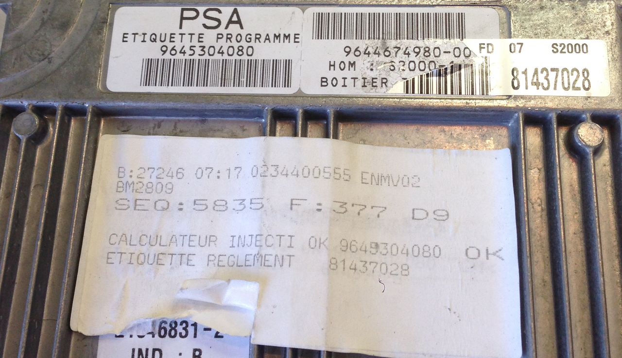 Plug & Play Engine ECU PSA, S2000-1, 9645304080, 9644674980-00, 21646831-2, IND B