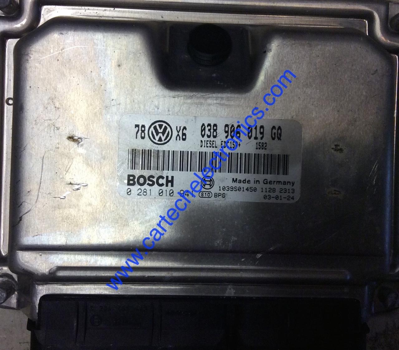 VW Passat 1.9 TDI, 0281010941, 0281 010 941, 038906019GQ, 038 906 019 GQ, EDC15P+