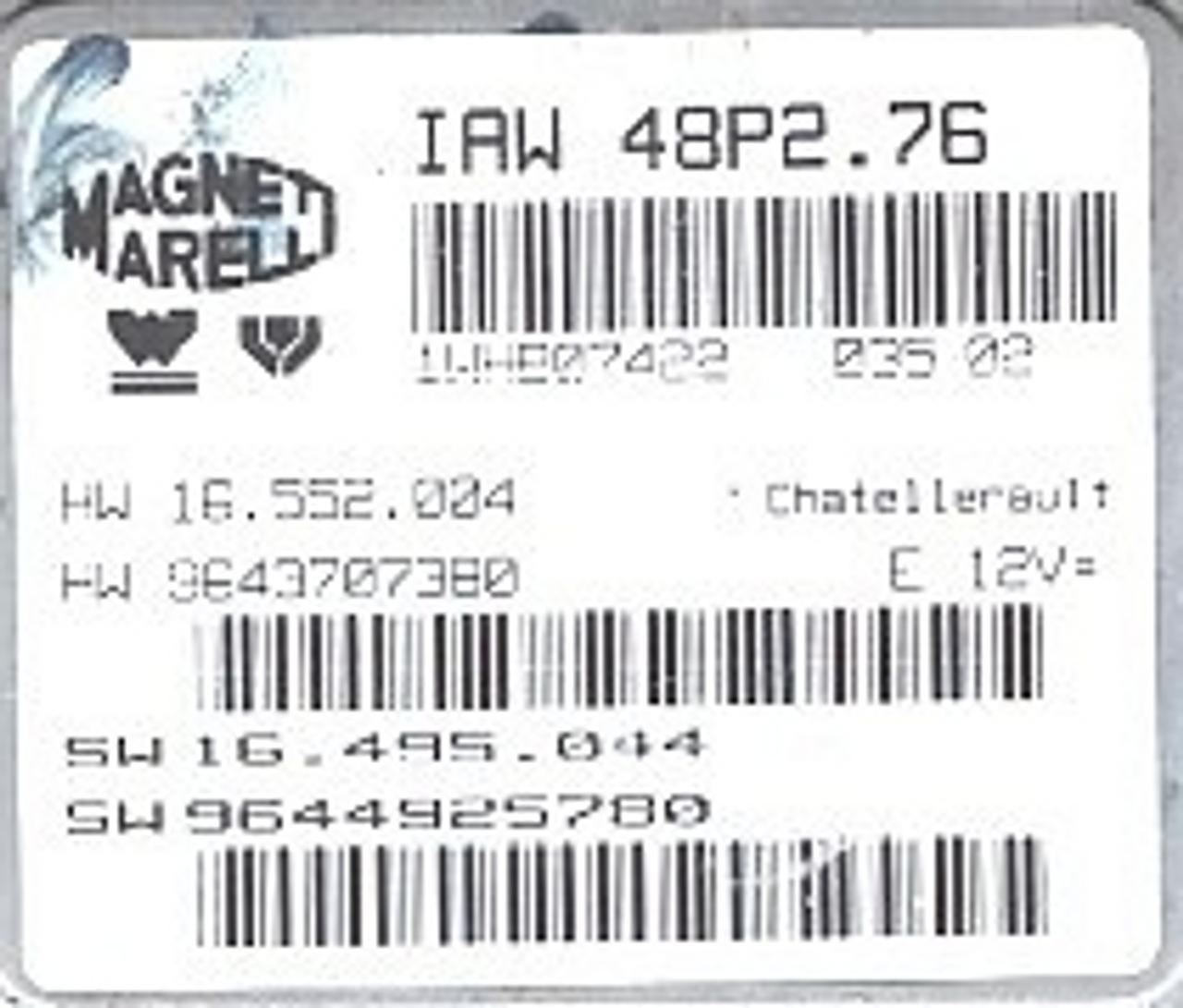 Magneti Marelli, IAW 48P2.76, HW 16.552.004, HW 9643707380, SW 16.495.044, SW 9644925780