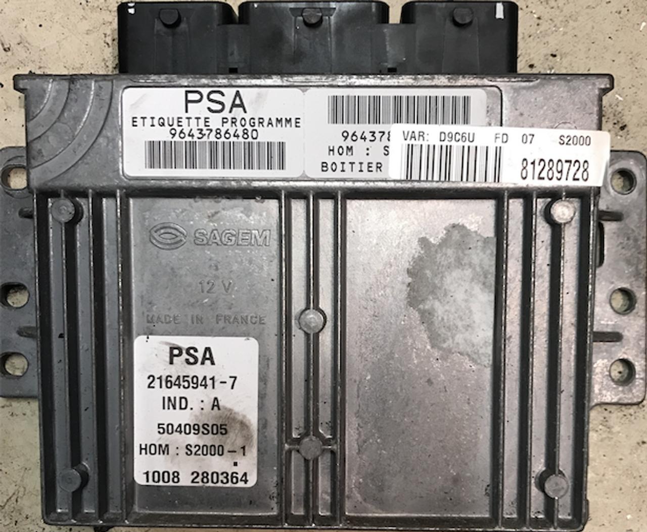 PSA, S2000-1,9643786480, 21645941-7, IND.:A