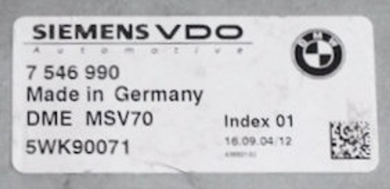 BMW, DME MSV70, 7546990, 7 546 990, 5WK90071, Index 01