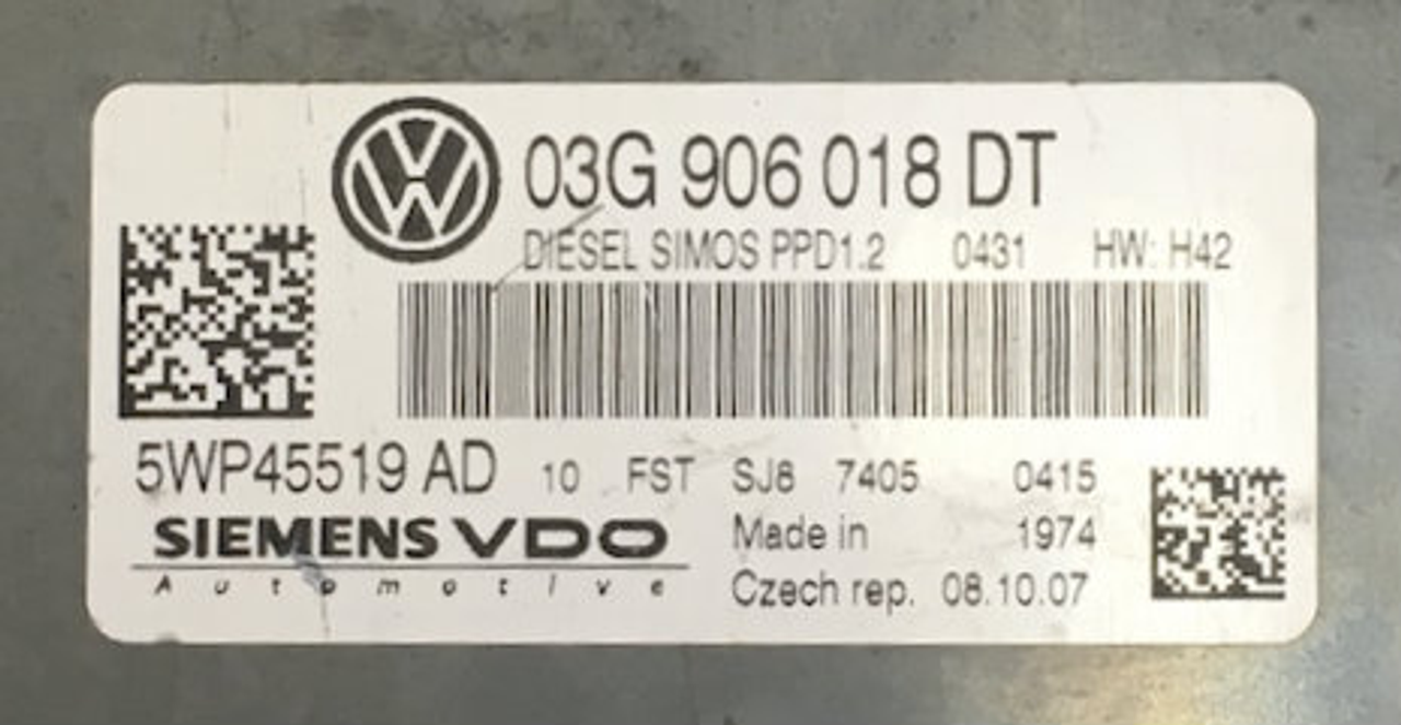 TDI, 5WP45519AD, 5WP45519 AD, 03G906018DT, 03G 906 018 DT, PPD1.2