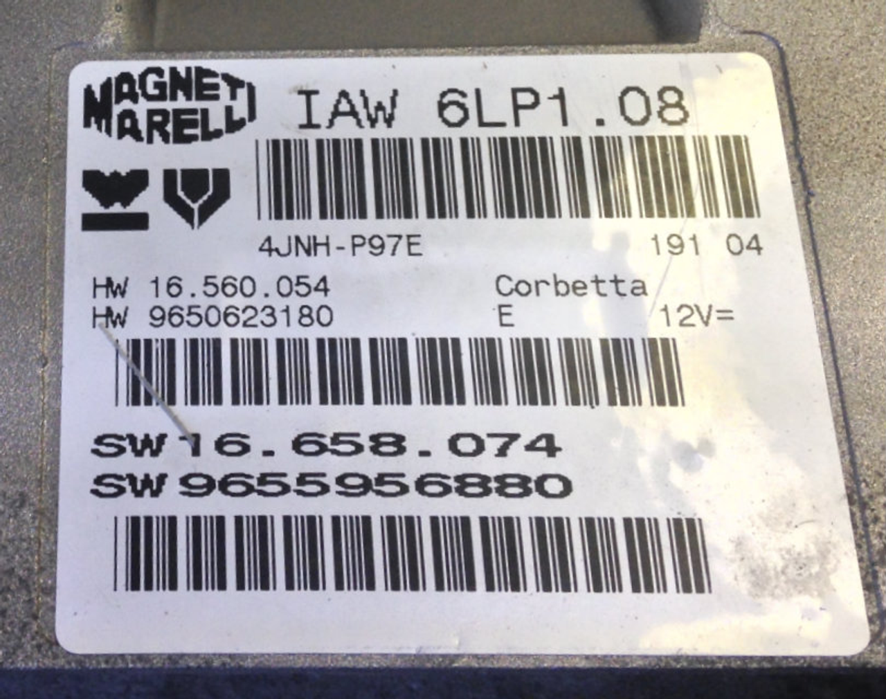 IAW 6LP1.08, HW 16.560.054, HW 9650623180, SW 16.658.074, SW 9655956880