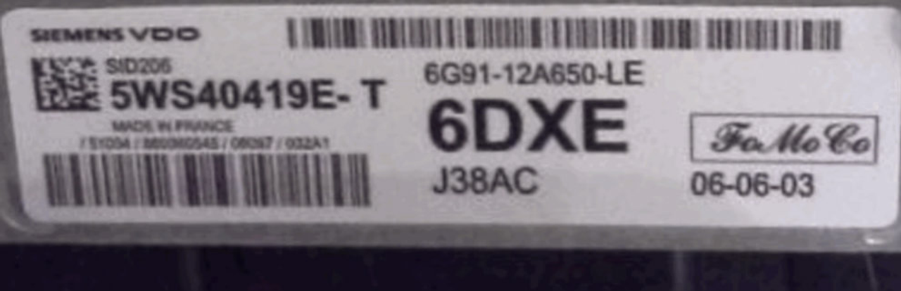Ford, SID206, 5WS40419E-T, 6G91-12A650-LE, 6DXE, J38AC