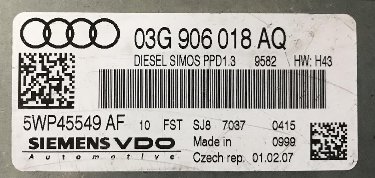Plug & Play Siemens VDO Engine ECU, Audi A4 2 0TDi, PPD1 3, 03G906018AQ,  03G 906 018 AQ, 5WP45549 AF
