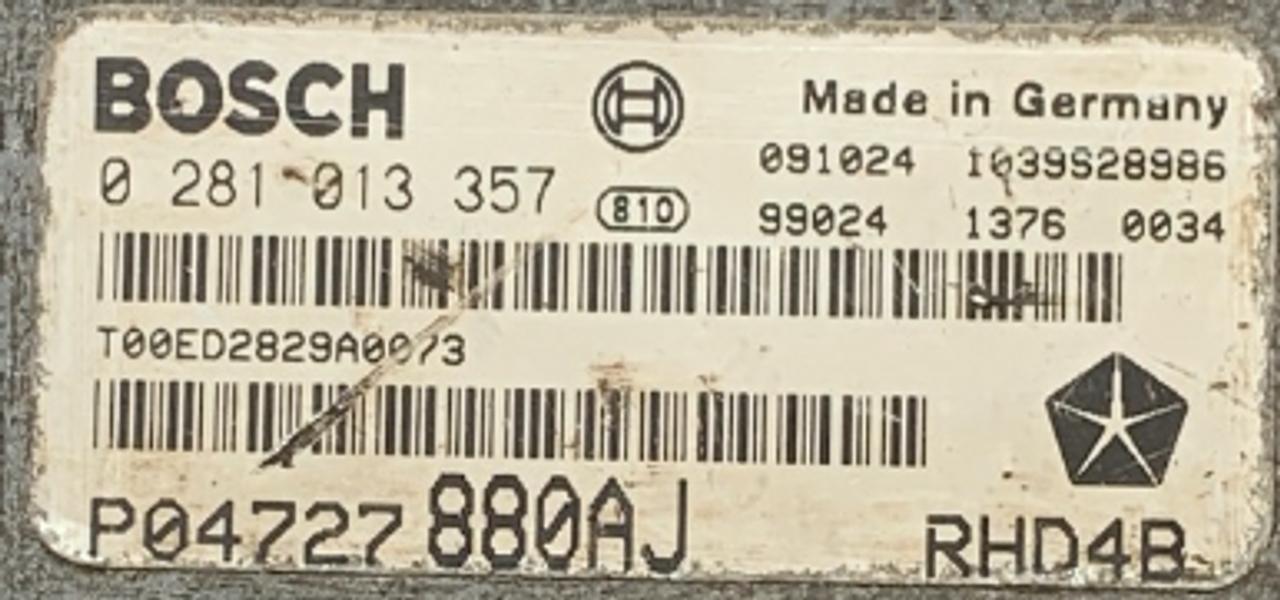 Chrysler, 0281013357, 0 281 013 357, P04727880AJ, P04727 880AJ