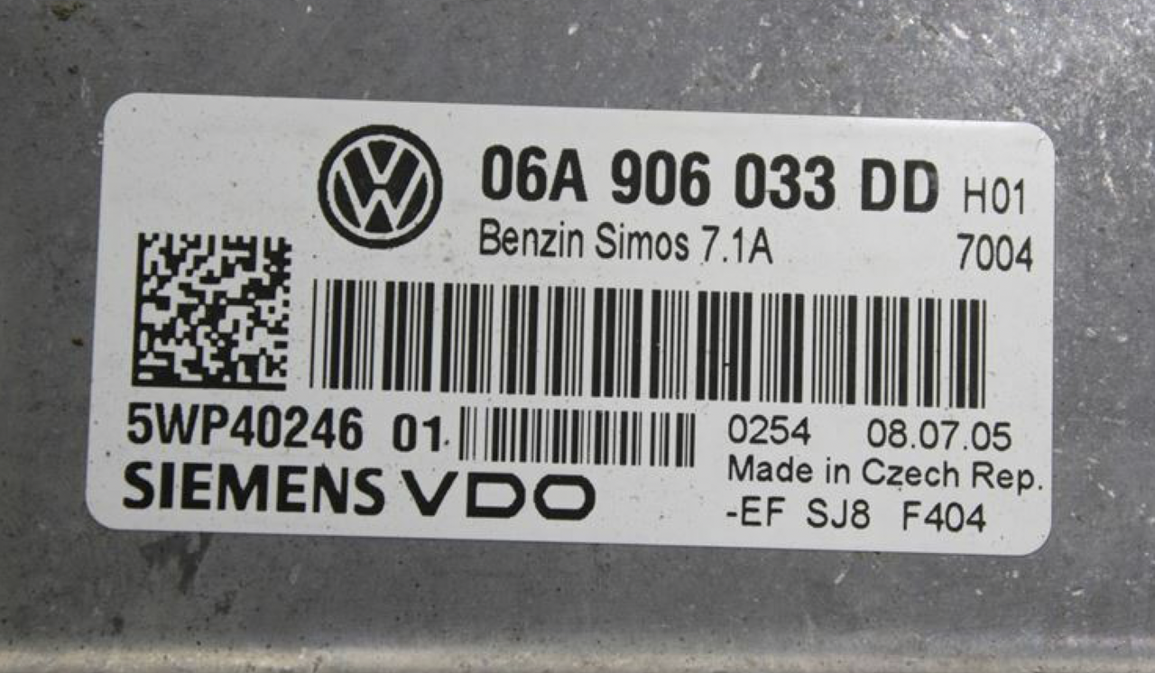 VW, Simos 7.1A, 06A906033DD, 06A 906 033 DD, 5WP4024601, 5WP40246 01