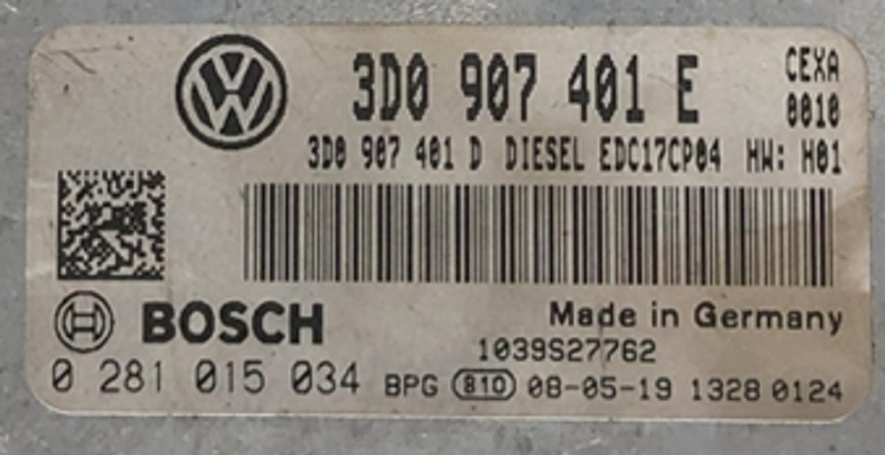 Bosch Engine ECU, VW Phaeton 3.0D, 0281015034, 0 281 015 034, 3D0907401E, 3D0 907 401 E, EDC17CP04