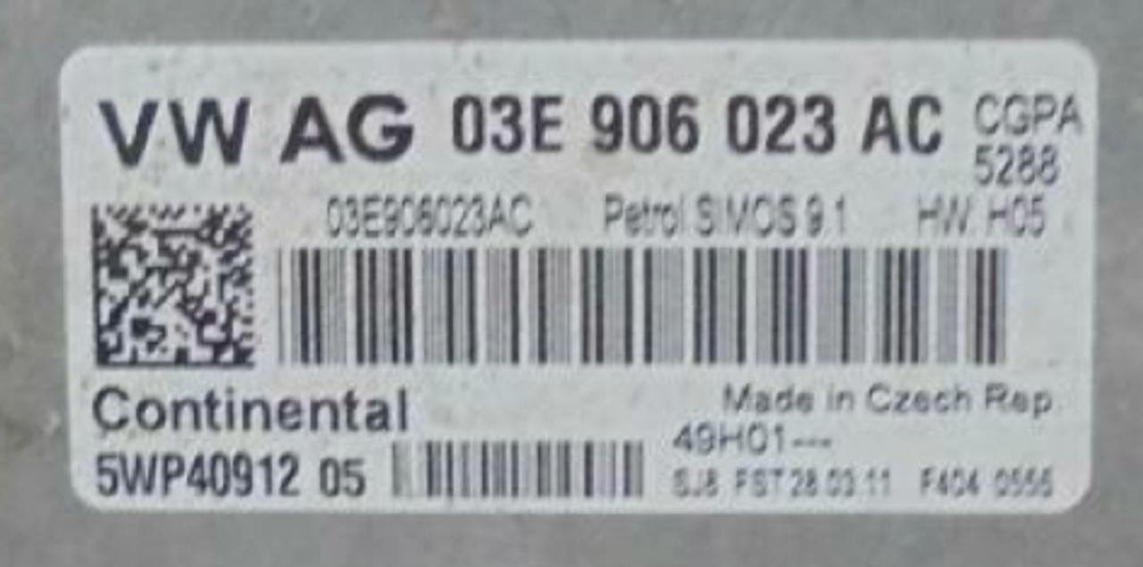 VW, 03E906023AC, 03E 906 023 AC, 5WP40912 05, SIMOS 9.1