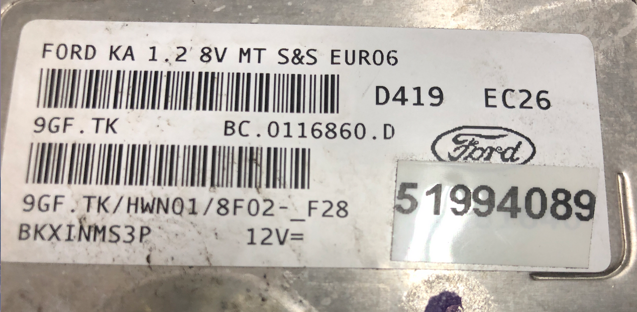Ford Ka 1.2 8V, 51994089, BC.0116860.D, 9GF.TK