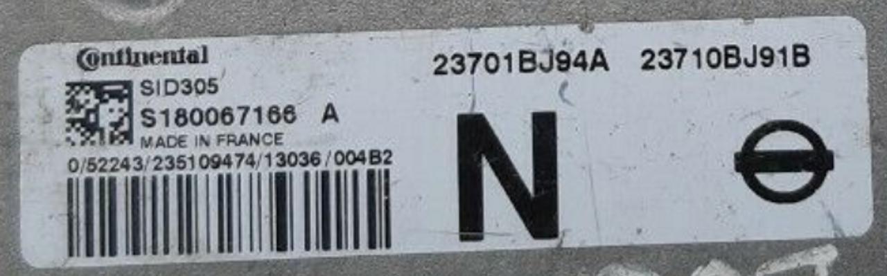 Nissan NV200, SID 305, S180067166 A, 2301BJ94A, 23710BJ91B