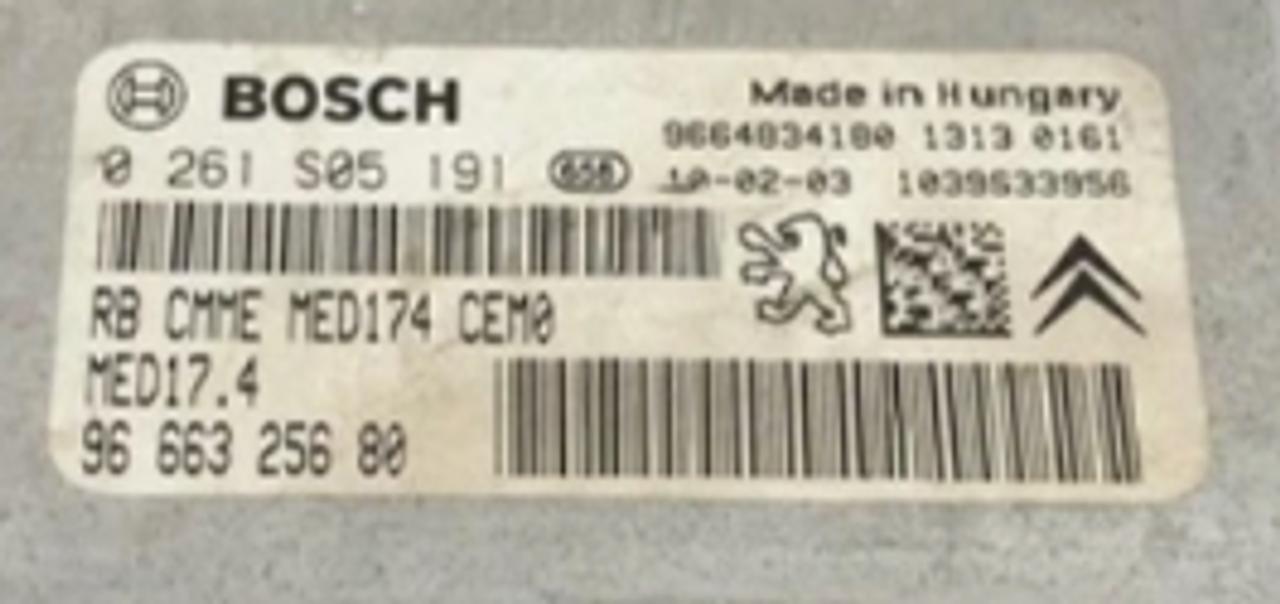 Bosch Engine ECU, Citroen DS3, 0261S05191, 0 261 S05 191, 9666325680, 96 663 256 80, MED17.4