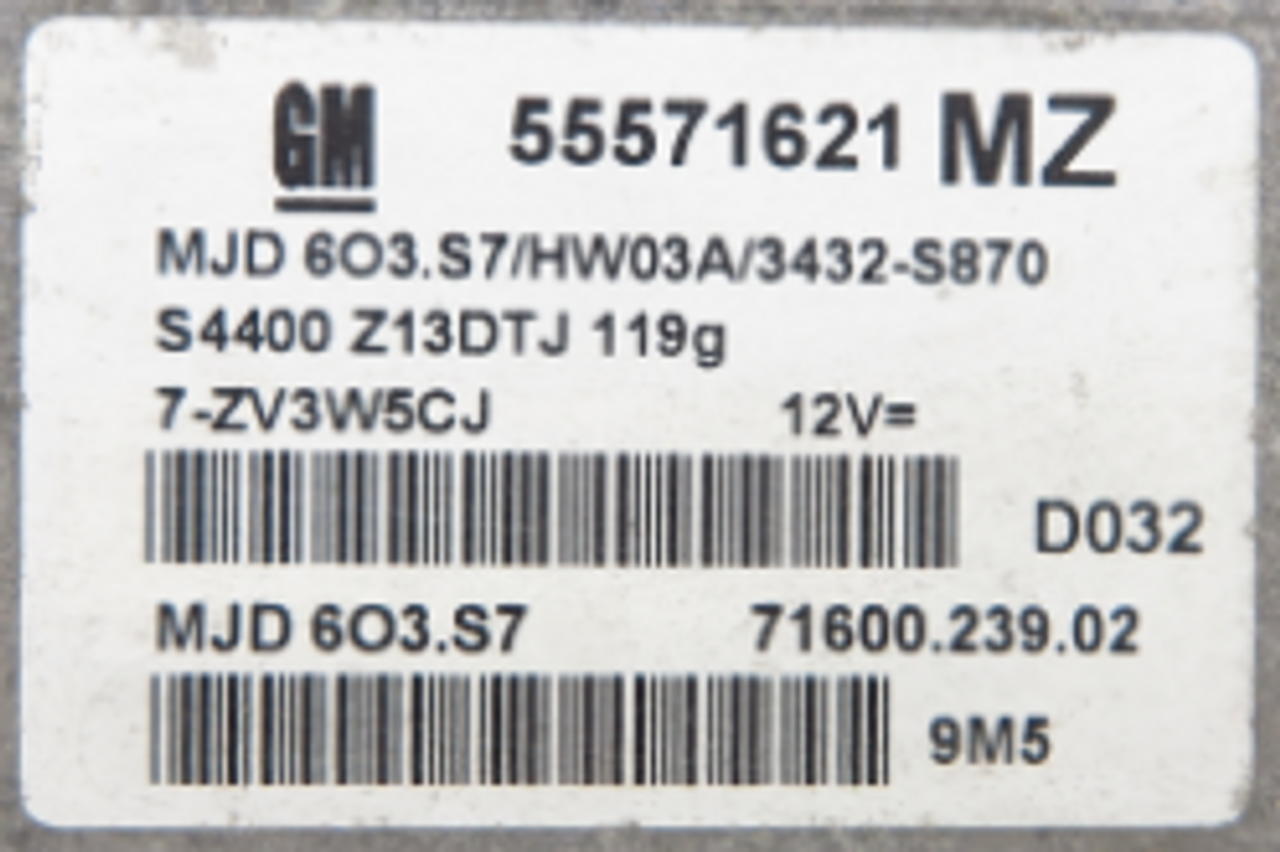 Vauxhall/Opel Engine ECU, 55571621, MJD 603.S7, MJD603.S7, 71600.239.02, MZ