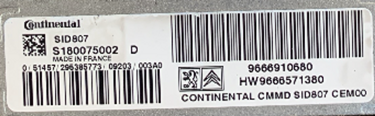 Citroen / Peugeot, SID807EVO, S180075002D, S180075002 D, 9666910680, HW9666571380