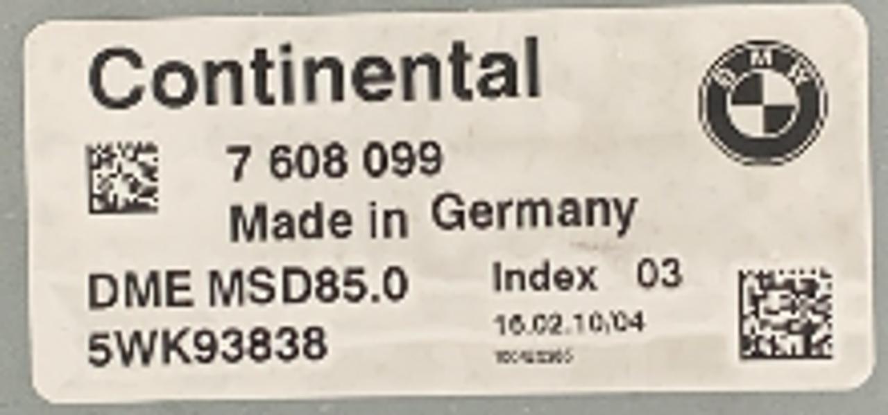 BMW DME MSD85.0, 7608099, 7 608 099, 5WK93838, INDEX 03
