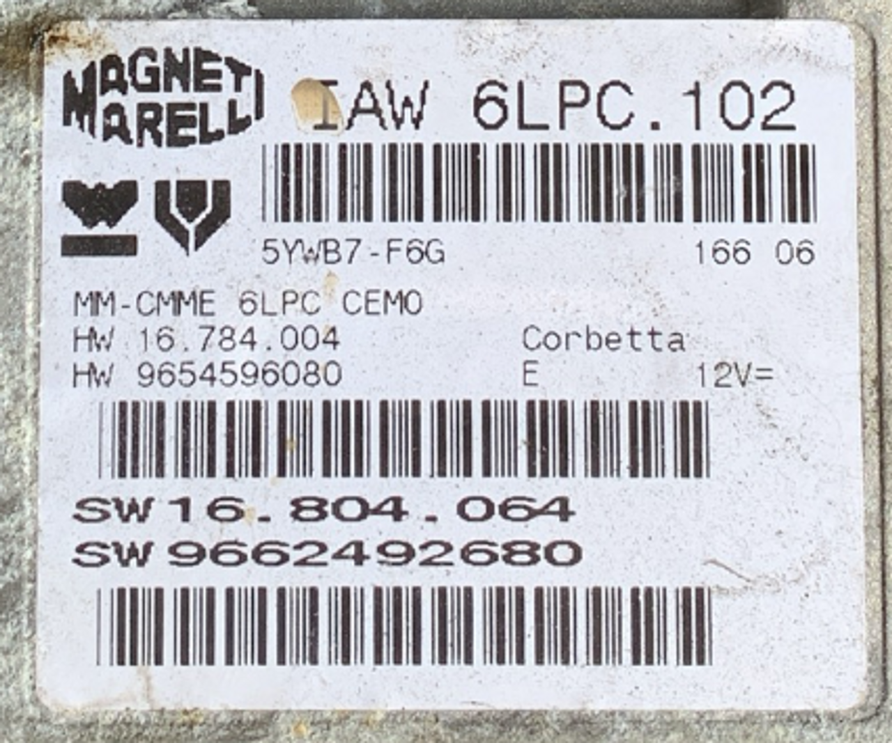 Magneti Marelli, IAW 6LPC.102, HW 16784004, HW 9654596080, SW 16803064, SW 9662492680