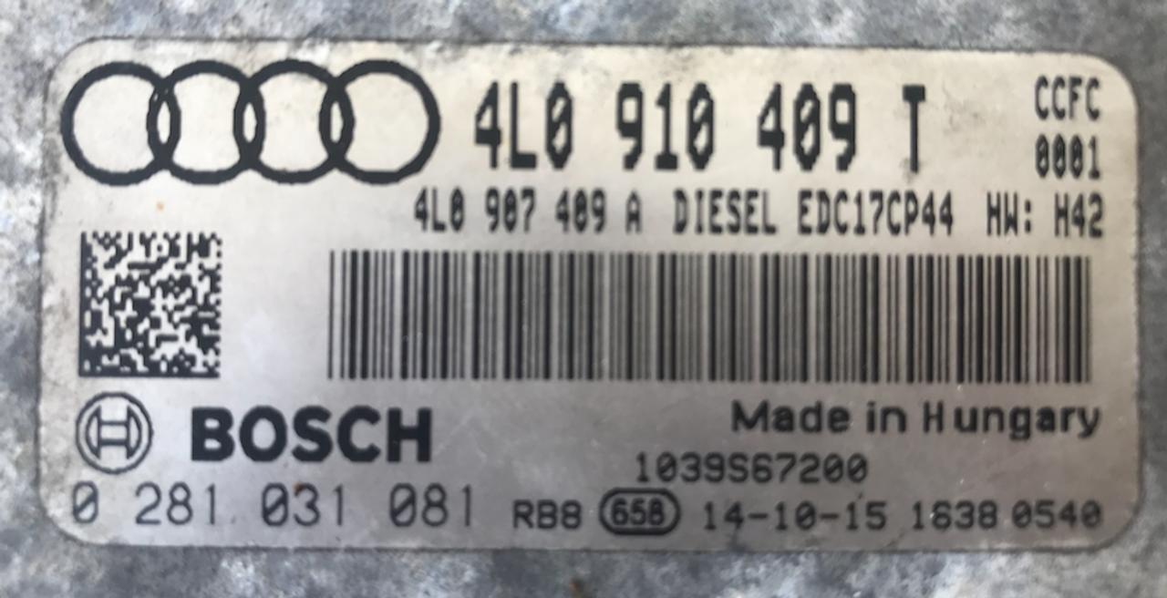 Bosch Engine ECU, Audi, 0281031081, 0 281 031 081, 4L0910409T, 4L0 910 409 T, 1039S67200