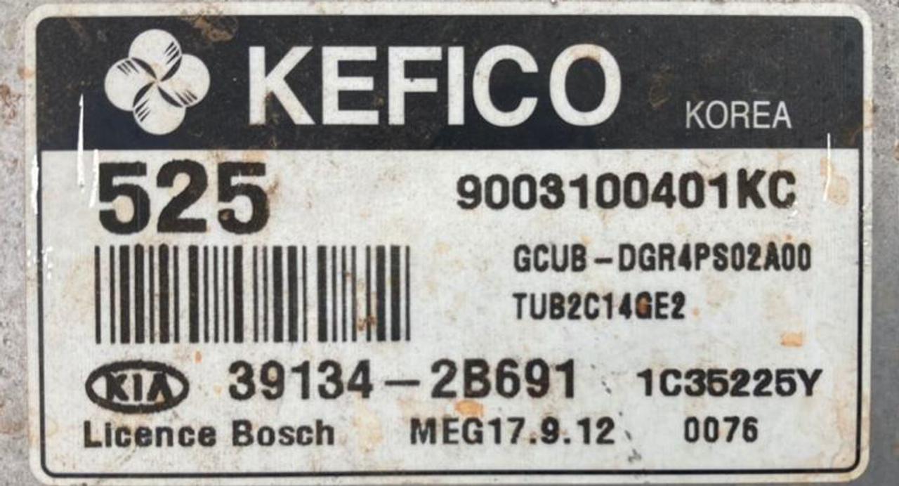 Kefico Engine ECU, Kia Rio 1.4, MEG 17.9.12, 9003100401KC, 39134-2B691, 525