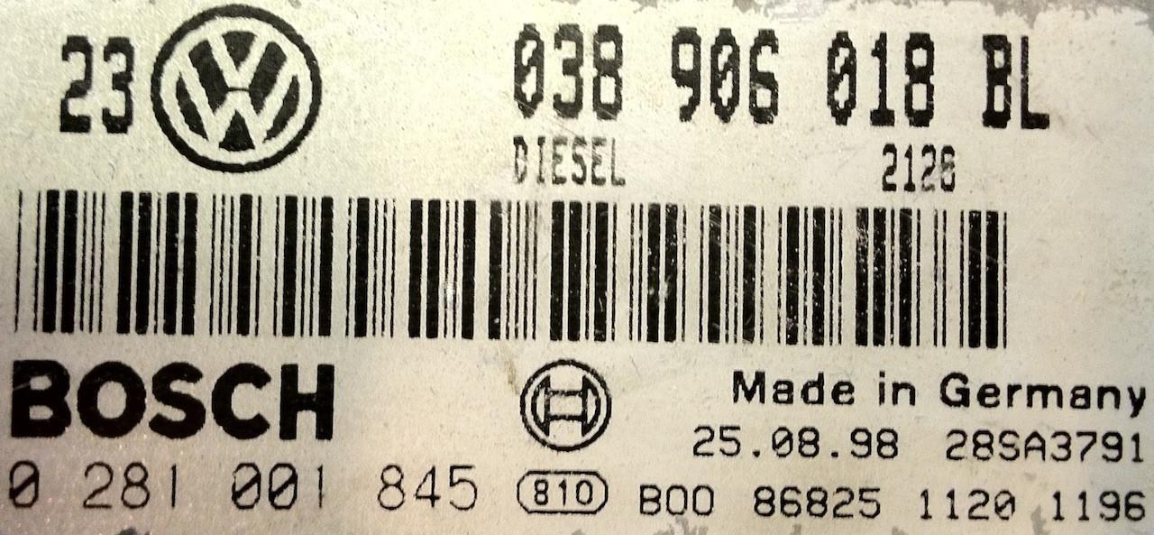 0281001845 038906018BL EDC15V