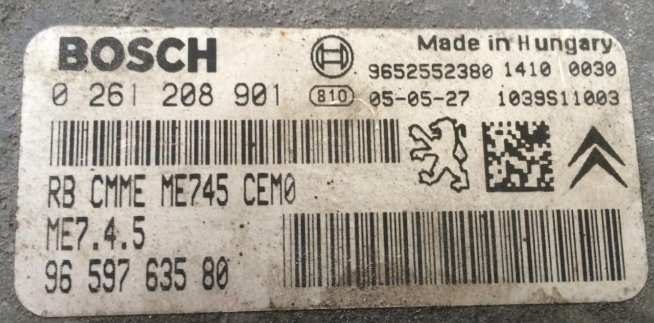 Peugeot 206 1.6, 0261208901, 0 261 208 901, 9659763580, 96 597 635 80, 1039S11003, ME7.4.5