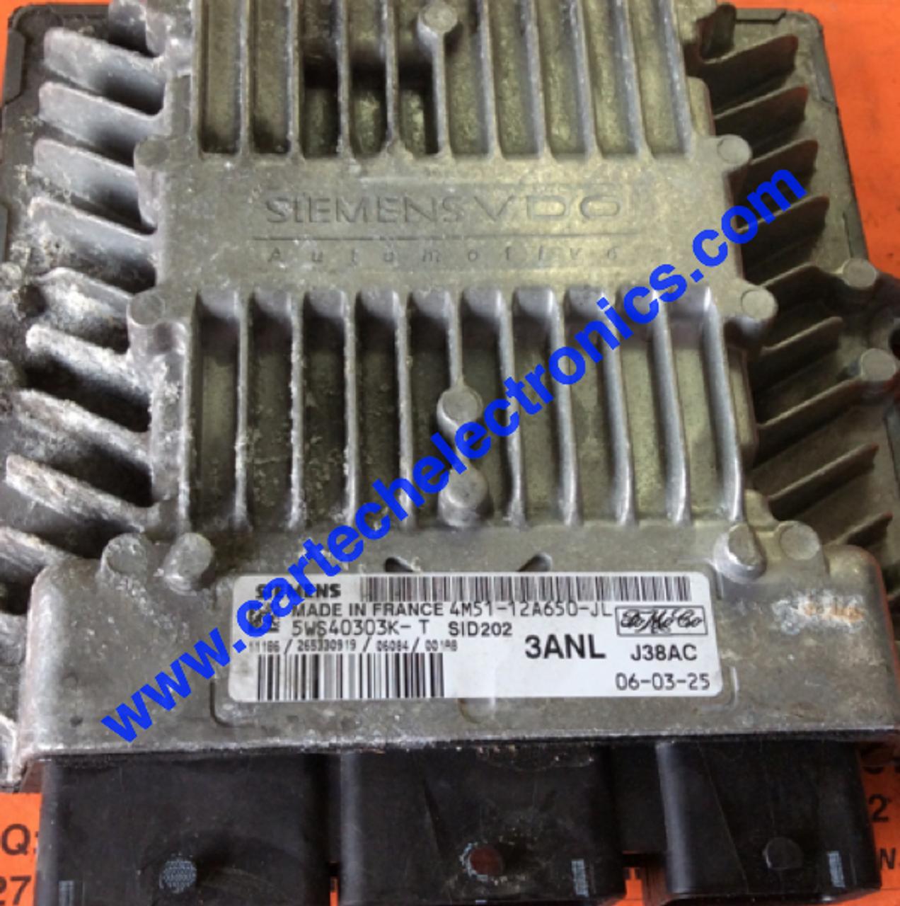 Plug & Play Ford Siemens, Engine ECU, SID202, 5WS40303K-T, 4M51-12A650-JL,  3ANL