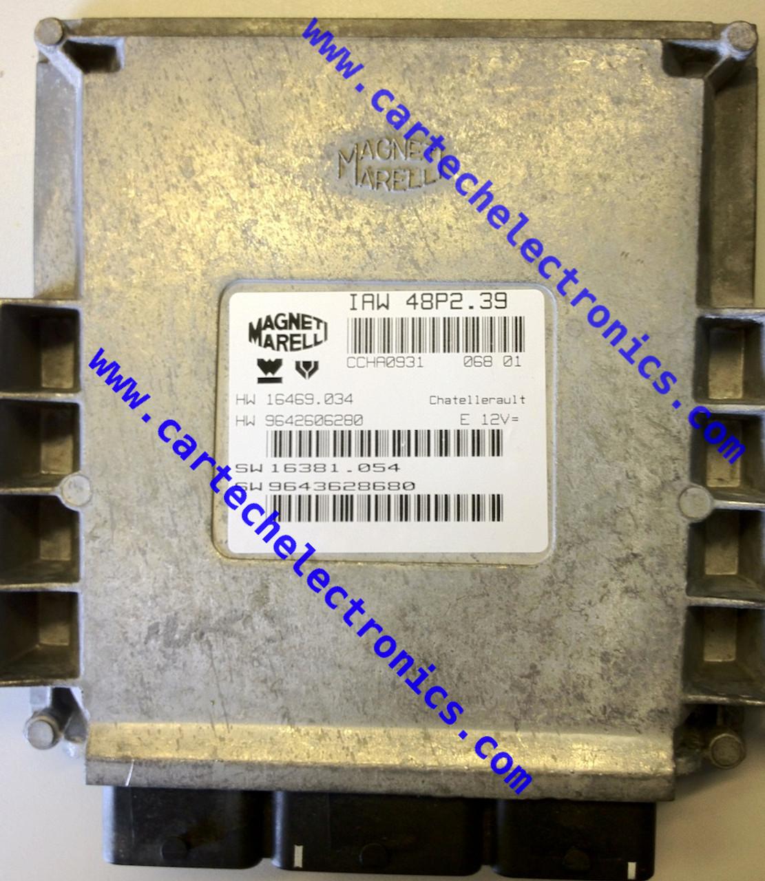 Plug & Play Engine ECU, Magneti Marelli, IAW 48P2.39, HW 16469.034, HW 9642606280, SW 16381.054, SW 9643628680