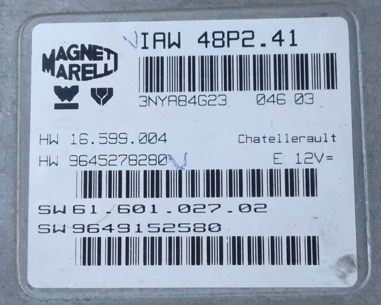 IAW 48P2.41, HW 16.599.004, HW 9645278280, SW 61.601.027.02, SW 9649152580