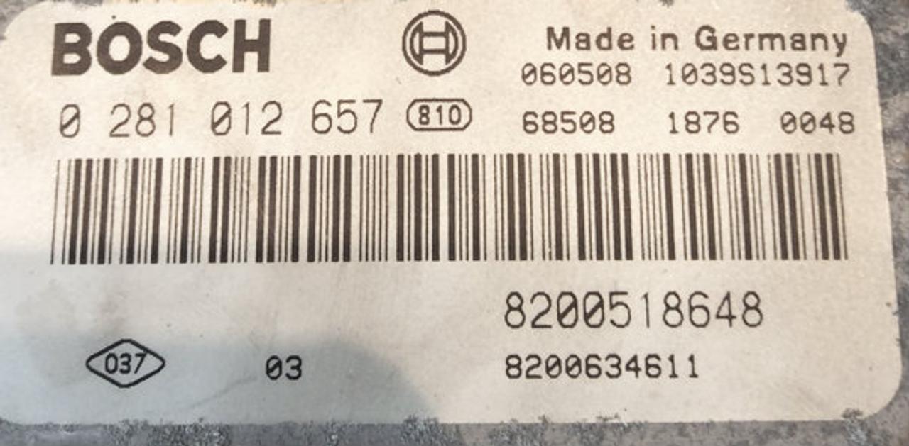 Plug & Play BOSCH Engine ECU, Suzuki Vitara 1 9D, 0281012657, 0 281 012  657, 8200518648, 8200634611