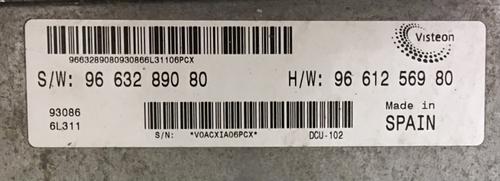Peugeot Boxer 2.2 HDI, SW9663289080, S/W: 96 632 890 80, HW9661256980, H/W: 96 612 569 80, DCU-102