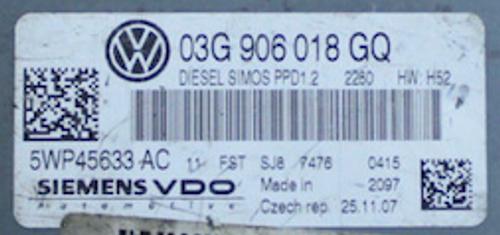 5WP45633AC, 5WP45633 AC, 03G906018GQ, 03G 906 018 GQ, PPD1.2